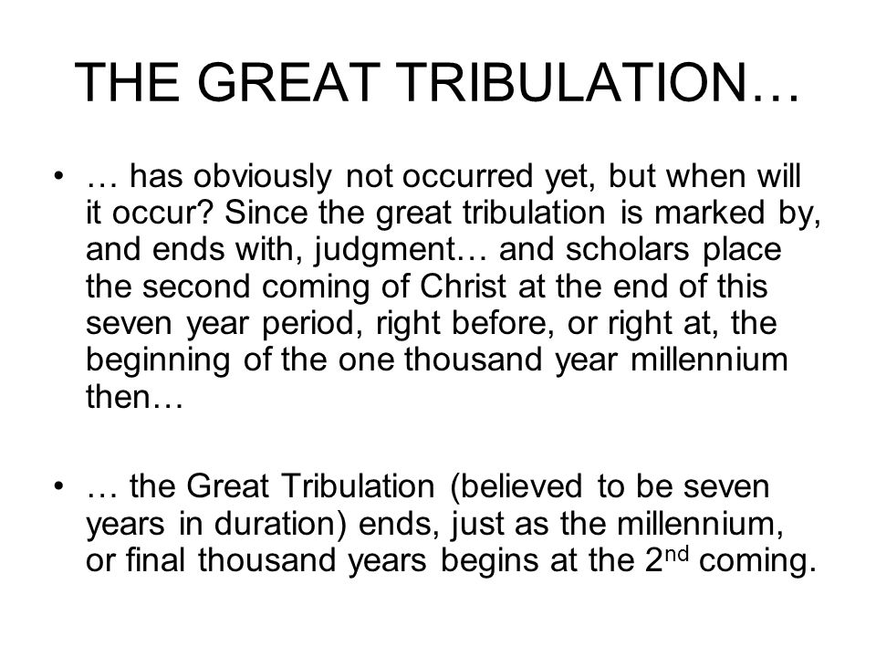THE GREAT TRIBULATION… … has obviously not occurred yet, but when will it occur.
