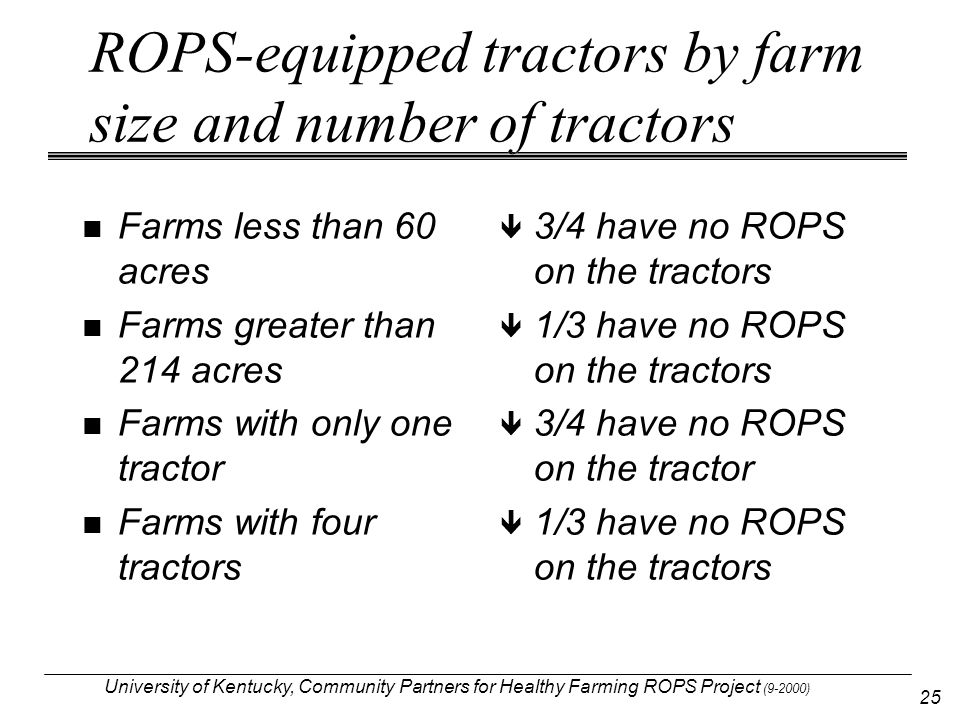 University of Kentucky, Community Partners for Healthy Farming ROPS Project (9-2000) 25 ROPS-equipped tractors by farm size and number of tractors Far