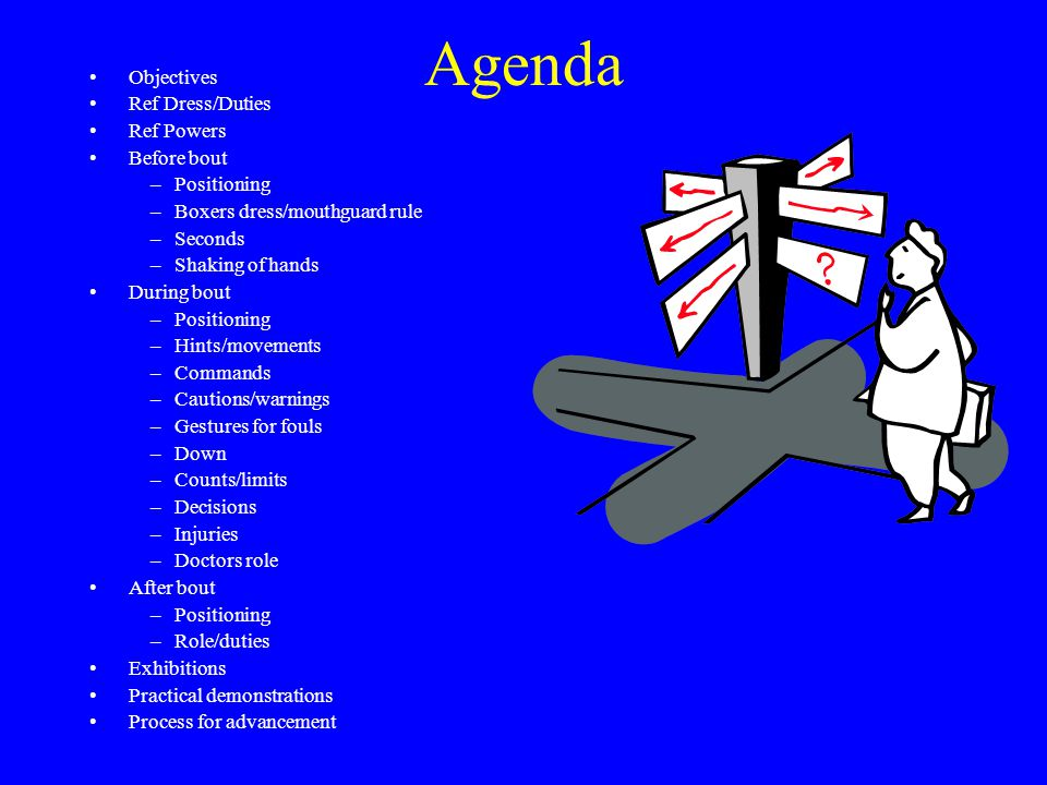 Agenda Objectives Ref Dress/Duties Ref Powers Before bout –Positioning –Boxers dress/mouthguard rule –Seconds –Shaking of hands During bout –Positioning –Hints/movements –Commands –Cautions/warnings –Gestures for fouls –Down –Counts/limits –Decisions –Injuries –Doctors role After bout –Positioning –Role/duties Exhibitions Practical demonstrations Process for advancement
