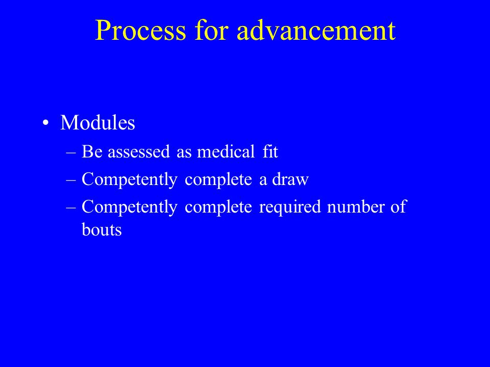 Process for advancement Modules –Be assessed as medical fit –Competently complete a draw –Competently complete required number of bouts