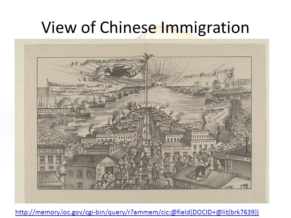 View of Chinese Immigration http://memory.loc.gov/cgi-bin/query/r ammem/cic:@field(DOCID+@lit(brk7639))
