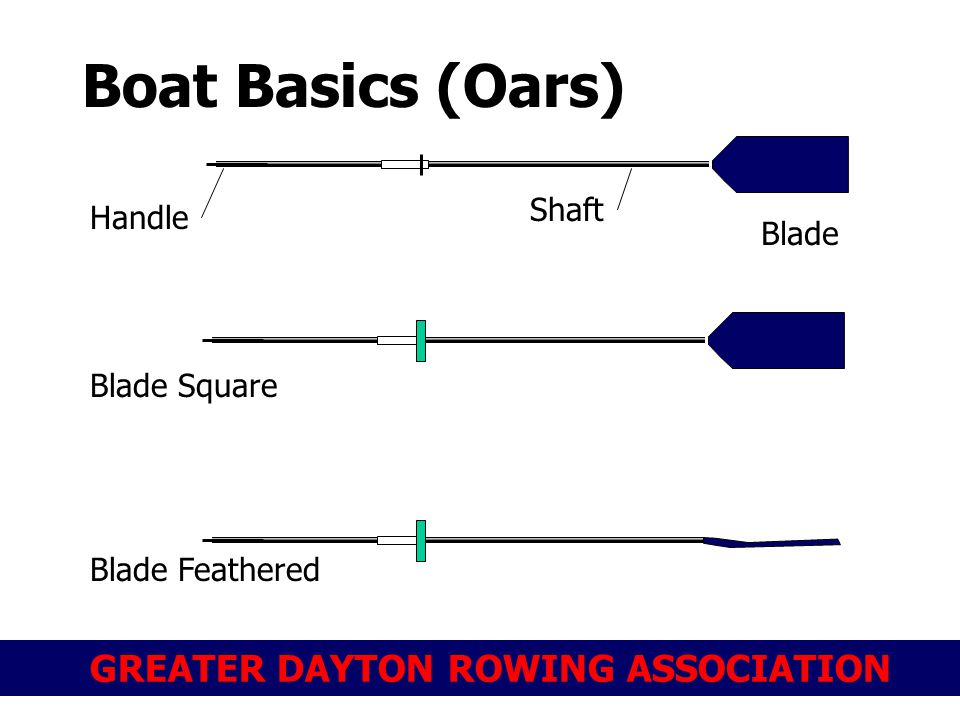 GREATER DAYTON ROWING ASSOCIATION Boat Basics (Oars) Blade Shaft Handle Blade Square Blade Feathered