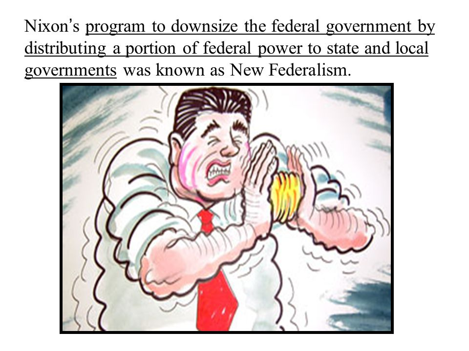 Nixon ' s program to downsize the federal government by distributing a portion of federal power to state and local governments was known as New Federalism.