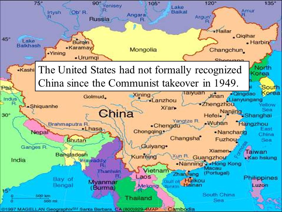 The United States had not formally recognized China since the Communist takeover in 1949.
