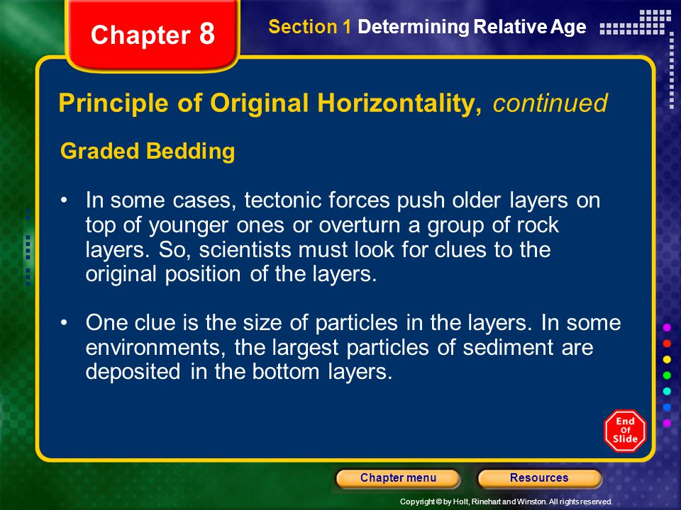 Copyright © by Holt, Rinehart and Winston. All rights reserved. ResourcesChapter menu Section 1 Determining Relative Age Chapter 8 Principle of Origin