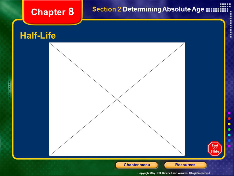 Copyright © by Holt, Rinehart and Winston. All rights reserved. ResourcesChapter menu Chapter 8 Half-Life Section 2 Determining Absolute Age