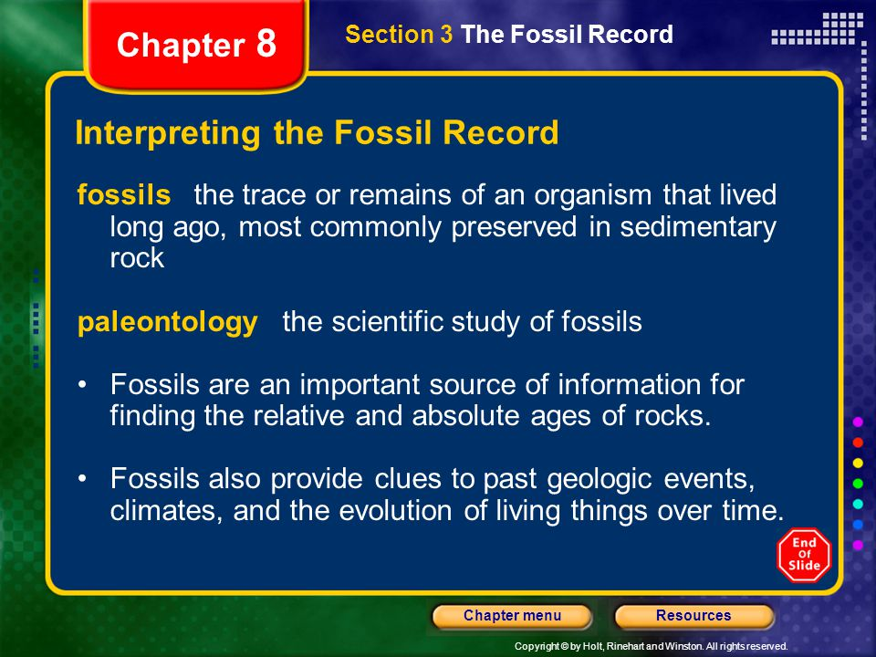 Copyright © by Holt, Rinehart and Winston. All rights reserved. ResourcesChapter menu Section 3 The Fossil Record Chapter 8 Interpreting the Fossil Re