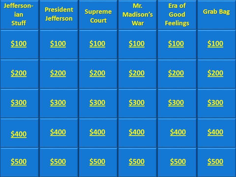 Category #1Category #2Category #4Category #5Category #6 Jefferson- ian Jefferson- ian Stuff President Jefferson Supreme Court Supreme Court Mr.