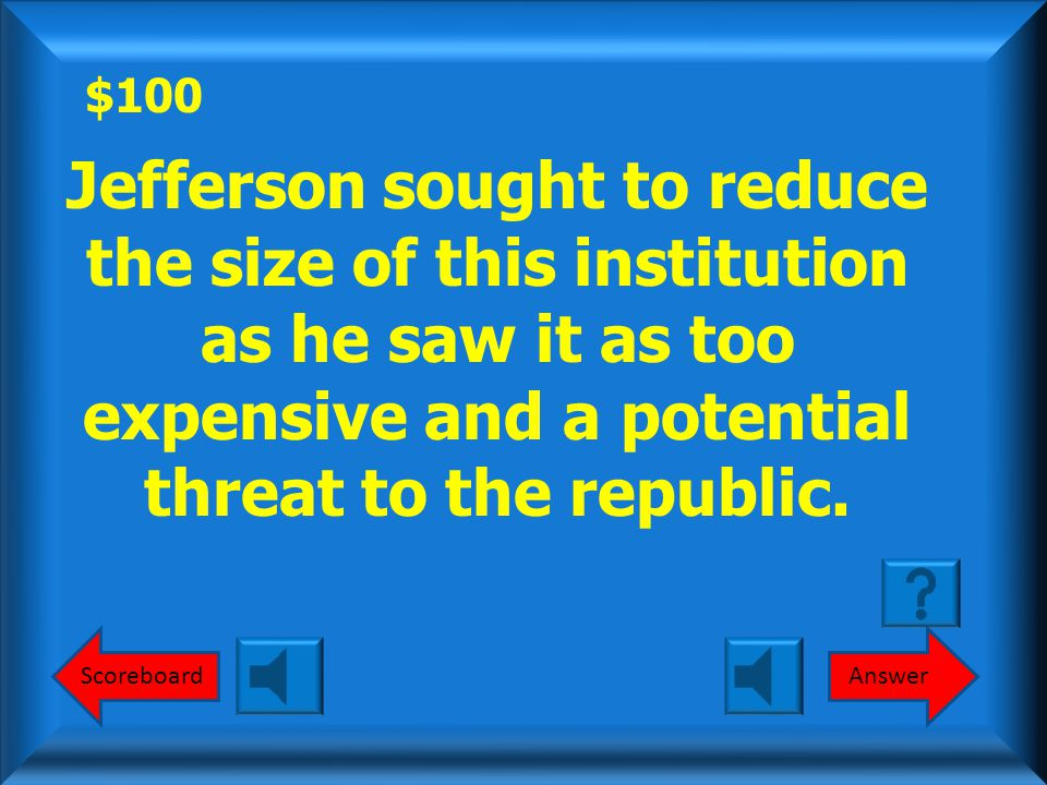$100 AnswerScoreboard Jefferson sought to reduce the size of this institution as he saw it as too expensive and a potential threat to the republic.
