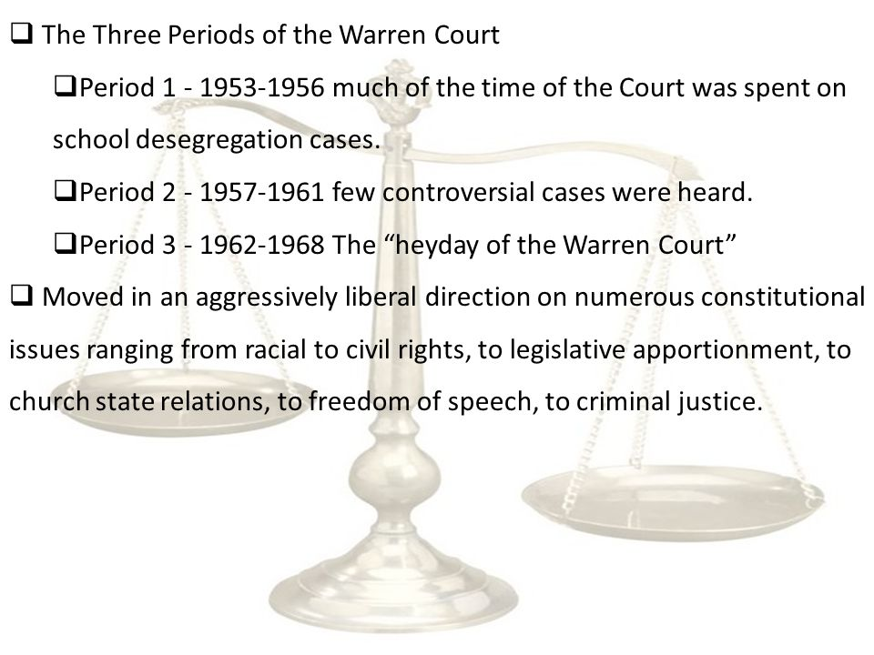  Liberals did not hold a majority on the Supreme Court until 1962.