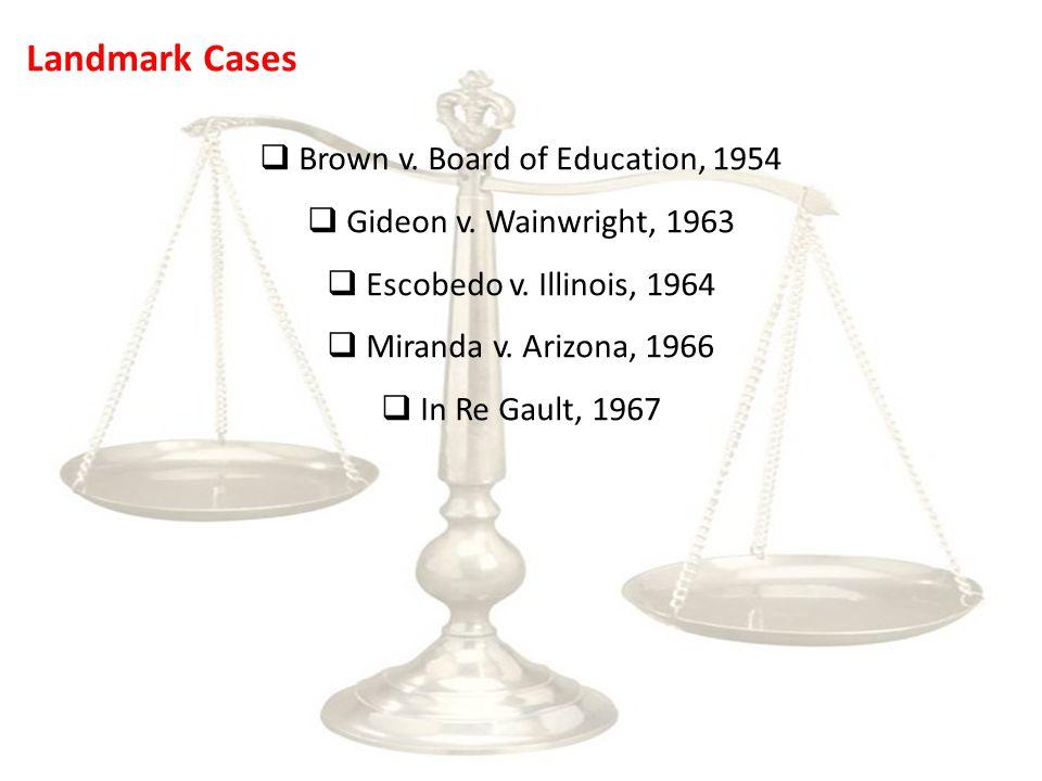 Landmark Cases  Brown v. Board of Education, 1954  Gideon v.