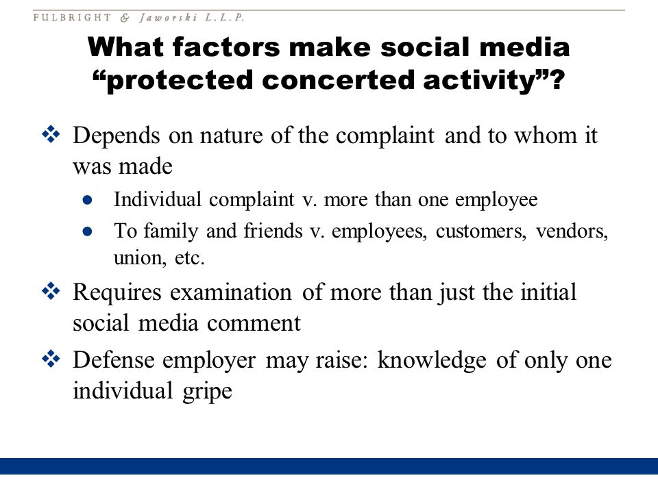 What factors make social media protected concerted activity .