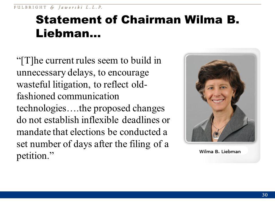 Statement of Chairman Wilma B.