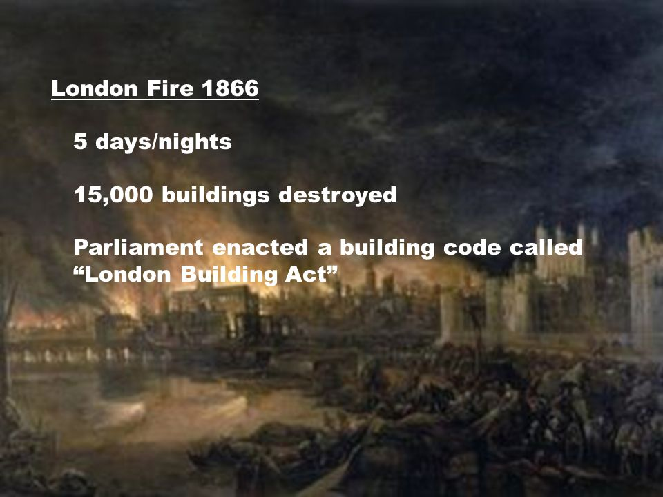 """London Fire 1866 5 days/nights 15,000 buildings destroyed Parliament enacted a building code called """"London Building Act"""""""