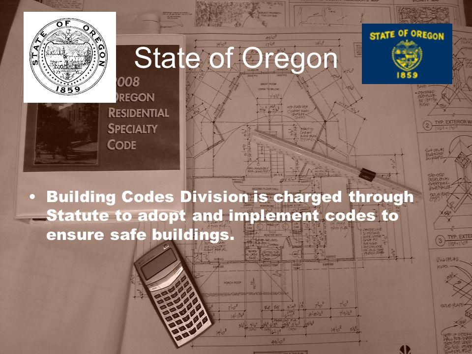 State of Oregon Building Codes Division is charged through Statute to adopt and implement codes to ensure safe buildings.
