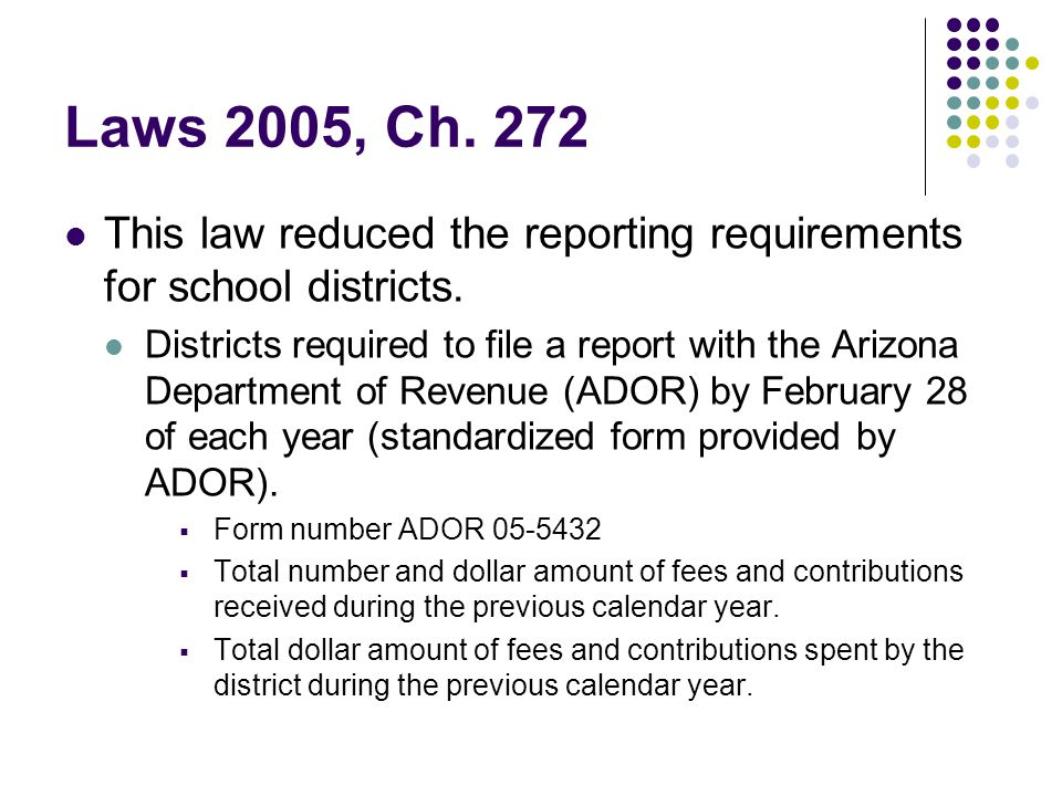 Laws 2005, Ch. 272 This law reduced the reporting requirements for school districts.