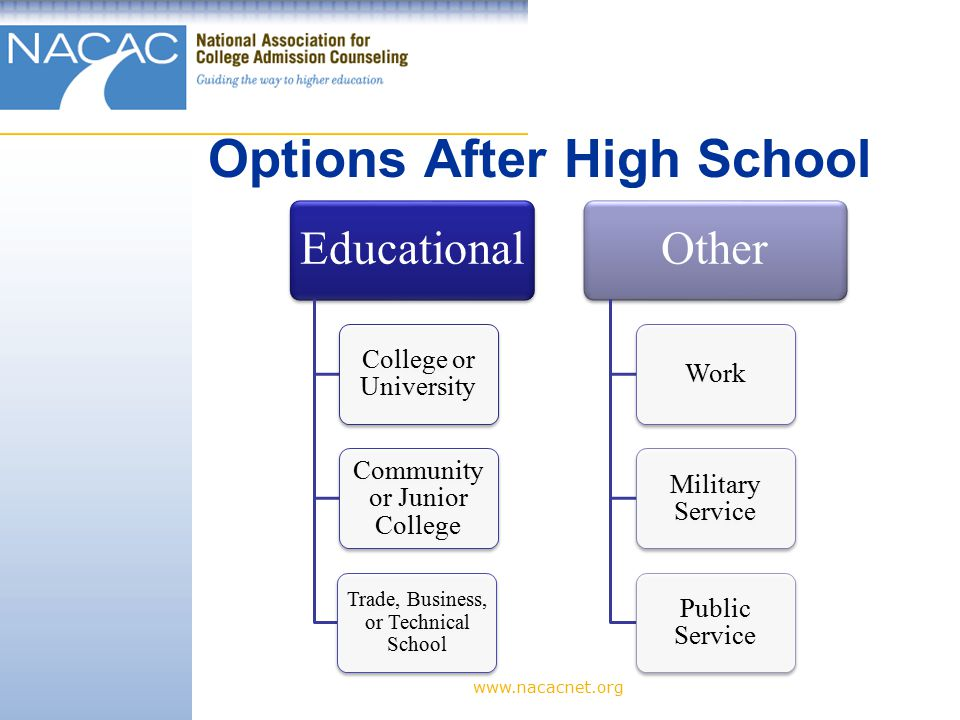 Options After High School Educational College or University Community or Junior College Trade, Business, or Technical School Other Work Military Service Public Service