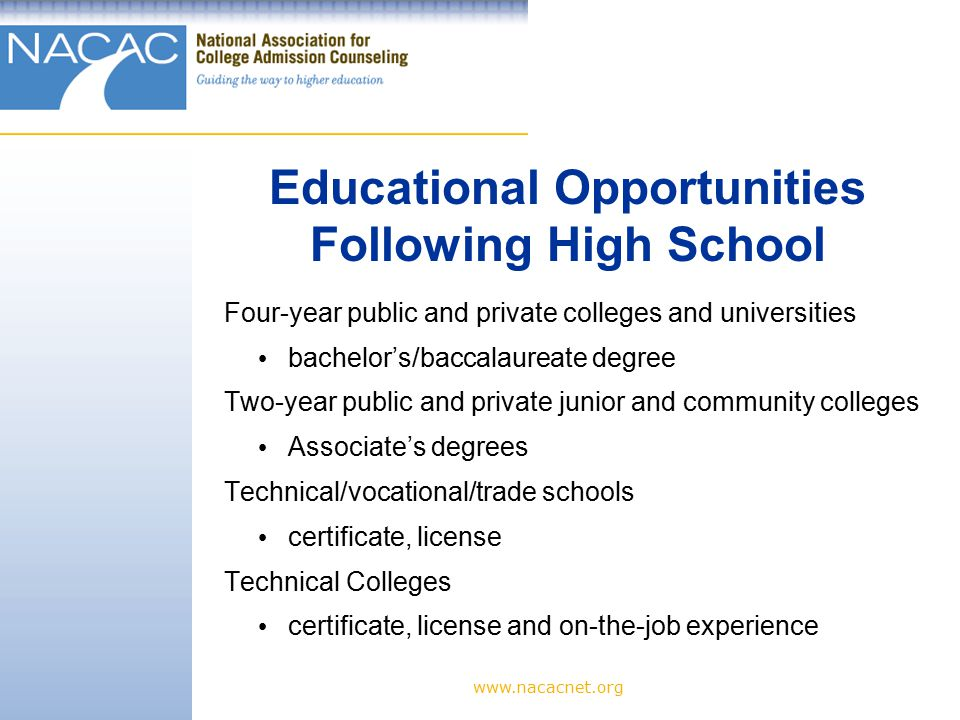 www.nacacnet.org Extracurricular activities help students learn to work collaboratively and independently.
