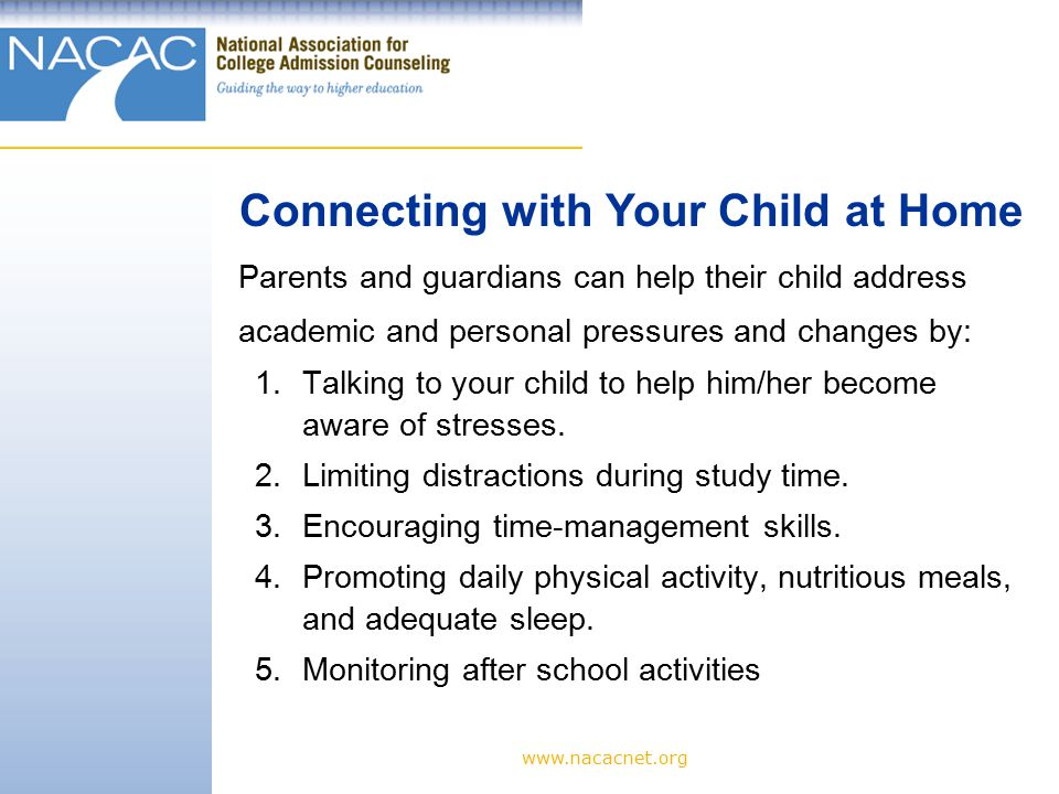 www.nacacnet.org 6.Clearly stating values and acceptable behaviors.