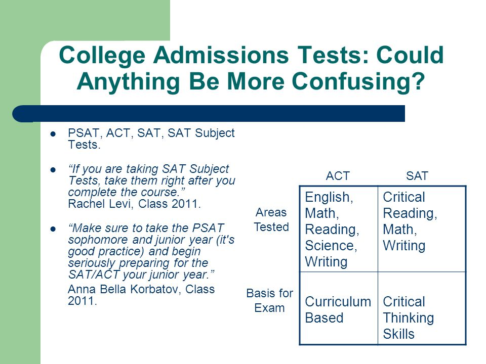 """College Admissions Tests: Could Anything Be More Confusing? PSAT, ACT, SAT, SAT Subject Tests. """"If you are taking SAT Subject Tests, take them right a"""