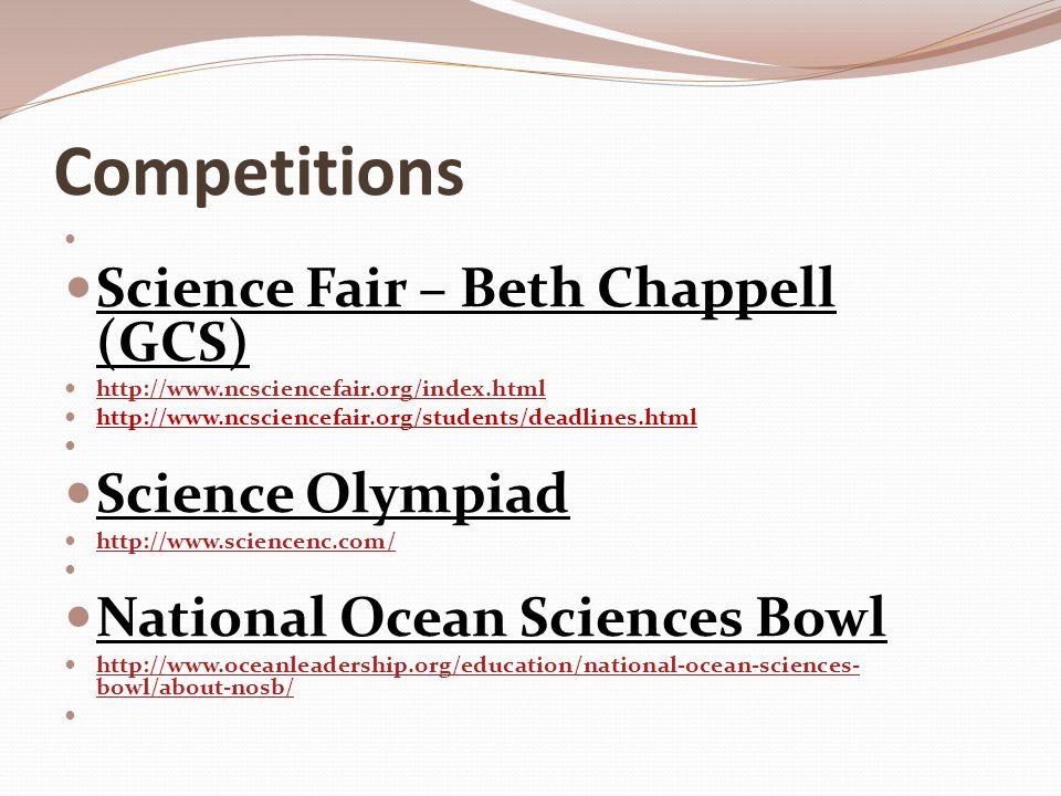 Competitions (Cont'd) FIRST Track (Legos/Robotics/Tech) http://www.teamprion.com/index.htmlhttp://www.teamprion.com/index.html (Grimsley Team); http://www.usfirst.org/ (national)http://www.usfirst.org/ Future City Competition http://www.futurecity.org/ Chemistry Olympiad http://portal.acs.org/portal/acs/corg/content?_nfpb=true&_pageLabel=PP_TRANSITIONMAIN&nod e_id=528&use_sec=false&sec_url_var=region1&__uuid=6f1a925f-02cc-4887-963f-3a7ec0005c5c