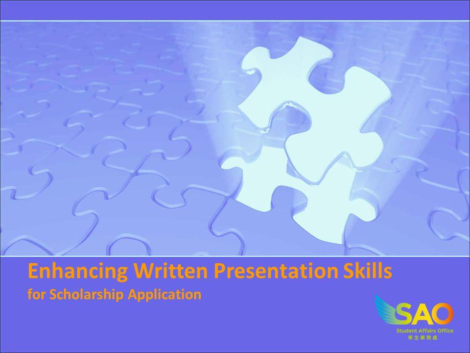 Enhancing Written Presentation Skills for Scholarship Application