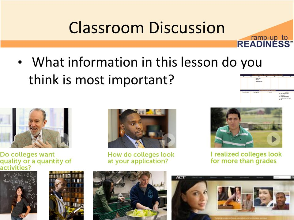 Classroom Discussion What information in this lesson do you think is most important?