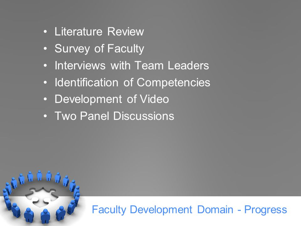 Faculty Development Domain - Progress Literature Review Survey of Faculty Interviews with Team Leaders Identification of Competencies Development of Video Two Panel Discussions