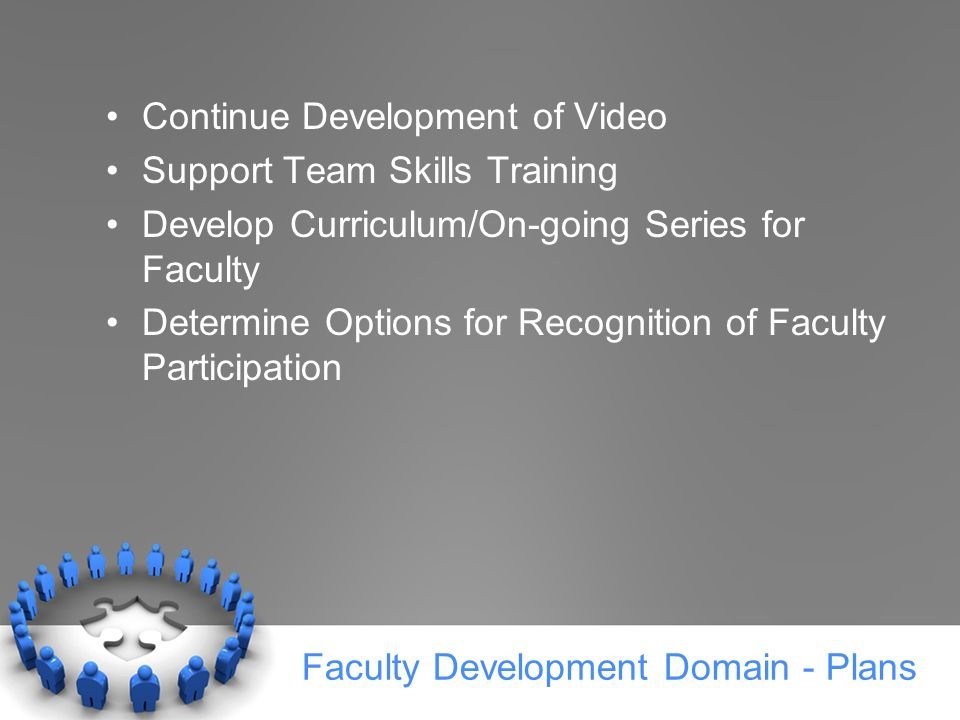 Faculty Development Domain - Plans Continue Development of Video Support Team Skills Training Develop Curriculum/On-going Series for Faculty Determine Options for Recognition of Faculty Participation