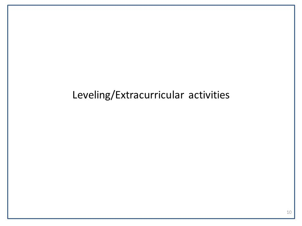 Leveling/Extracurricular activities 10