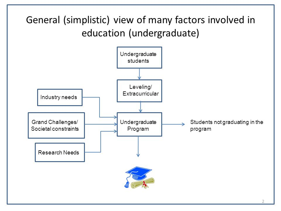 General (simplistic) view of many factors involved in education (undergraduate) Undergraduate students Leveling/ Extracurricular Undergraduate Program