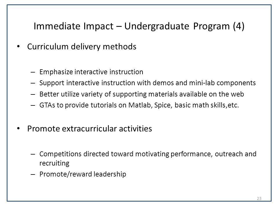 Immediate Impact – Undergraduate Program (4) Curriculum delivery methods – Emphasize interactive instruction – Support interactive instruction with de