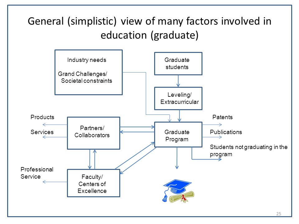 General (simplistic) view of many factors involved in education (graduate) Graduate students Leveling/ Extracurricular Graduate Program Industry needs