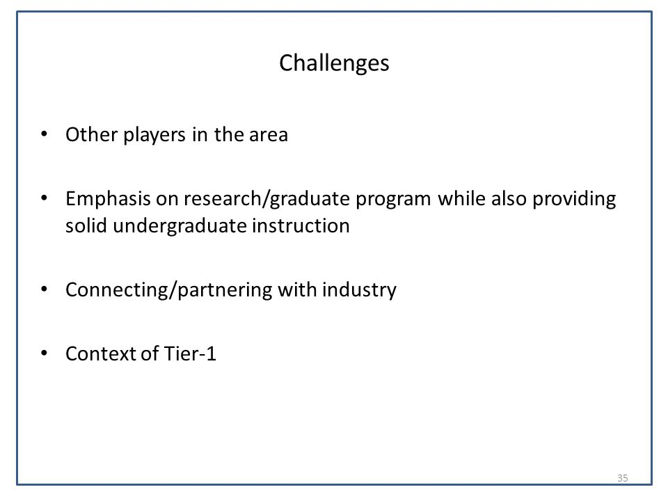 Challenges Other players in the area Emphasis on research/graduate program while also providing solid undergraduate instruction Connecting/partnering