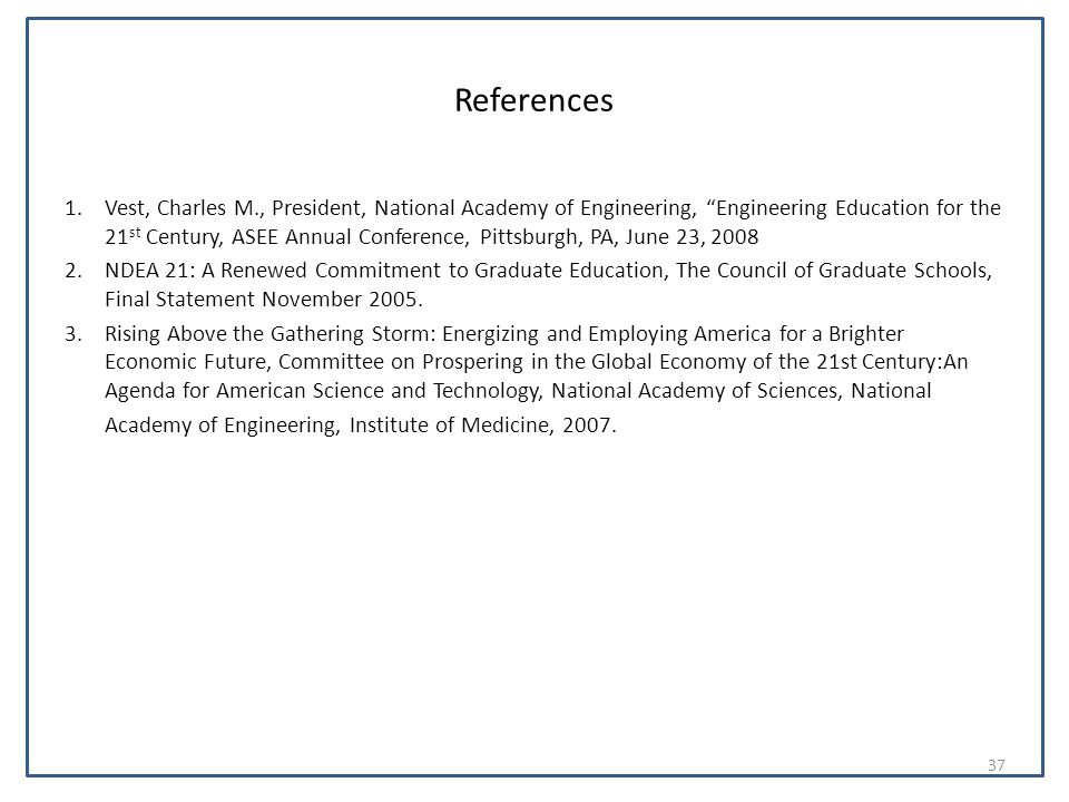 "References 1.Vest, Charles M., President, National Academy of Engineering, ""Engineering Education for the 21 st Century, ASEE Annual Conference, Pitts"
