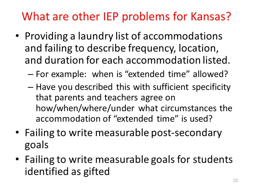 What are other IEP problems for Kansas.
