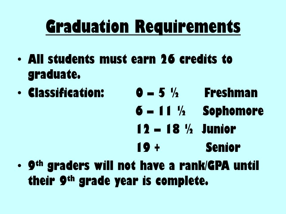Graduation Requirements All students must earn 26 credits to graduate. Classification: 0 – 5 ½ Freshman 6 – 11 ½ Sophomore 12 – 18 ½ Junior 19 + Senio