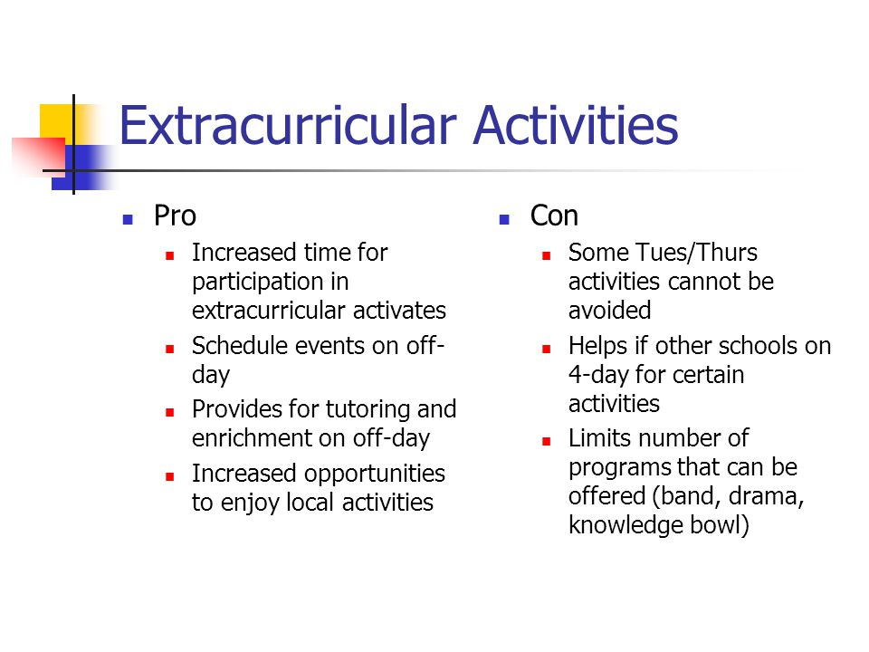 Extracurricular Activities Pro Increased time for participation in extracurricular activates Schedule events on off- day Provides for tutoring and enrichment on off-day Increased opportunities to enjoy local activities Con Some Tues/Thurs activities cannot be avoided Helps if other schools on 4-day for certain activities Limits number of programs that can be offered (band, drama, knowledge bowl)