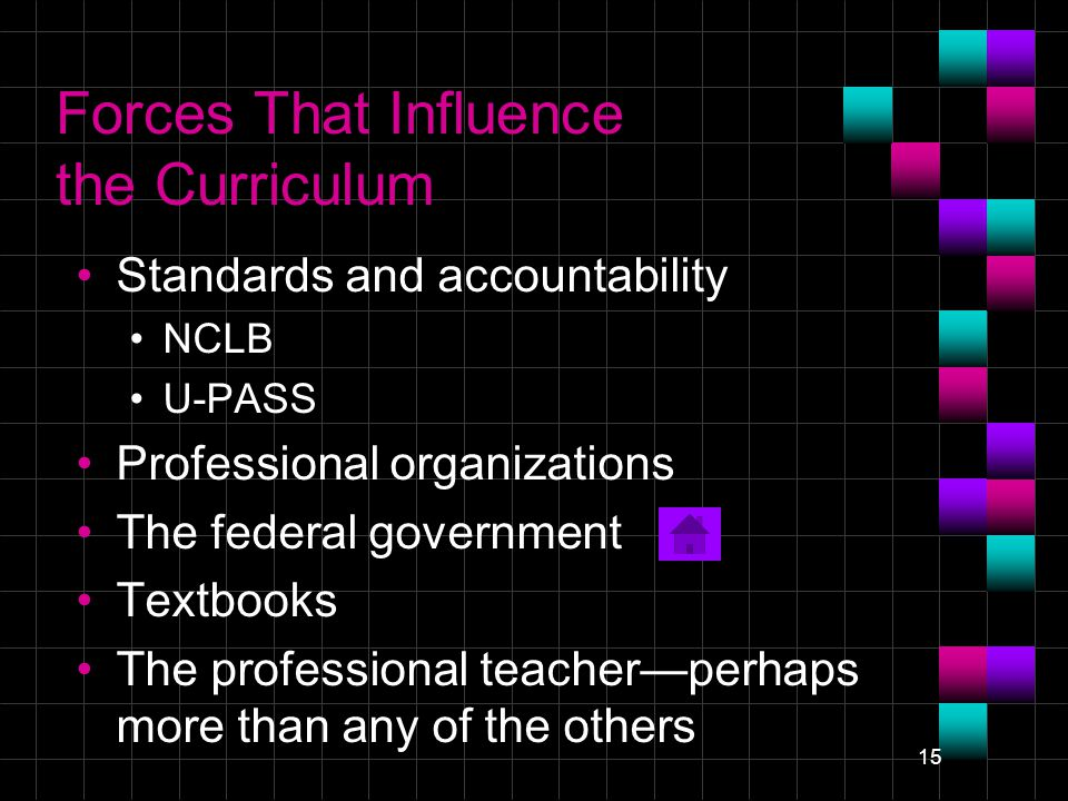15 Forces That Influence the Curriculum Standards and accountability NCLB U-PASS Professional organizations The federal government Textbooks The professional teacher—perhaps more than any of the others