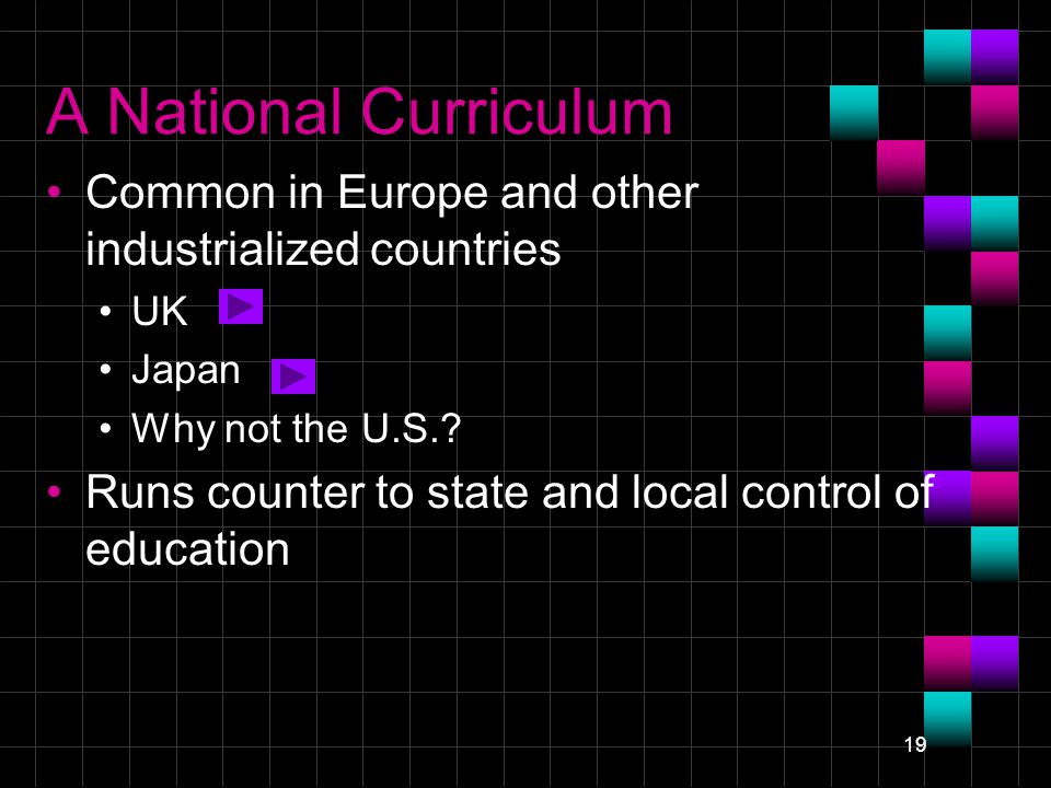 19 A National Curriculum Common in Europe and other industrialized countries UK Japan Why not the U.S..