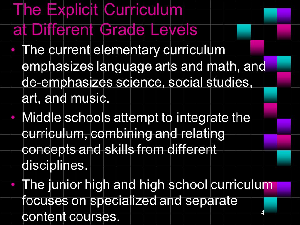 4 The Explicit Curriculum at Different Grade Levels The current elementary curriculum emphasizes language arts and math, and de-emphasizes science, social studies, art, and music.