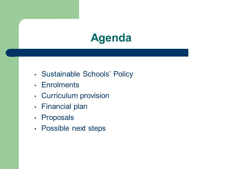 Agenda Sustainable Schools' Policy Enrolments Curriculum provision Financial plan Proposals Possible next steps