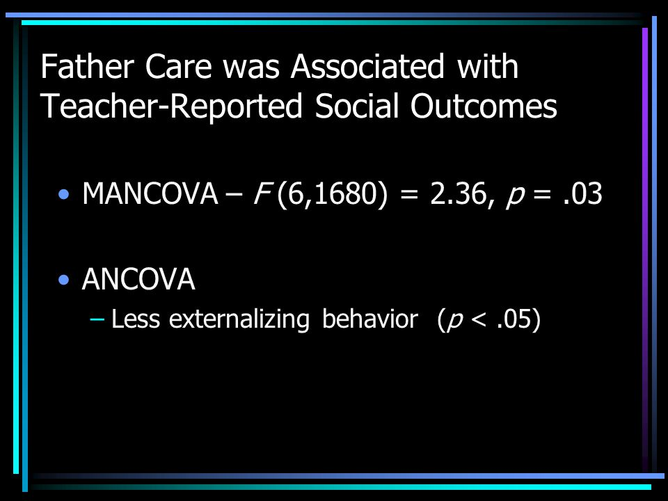 Father Care was Associated with Teacher-Reported Social Outcomes MANCOVA – F (6,1680) = 2.36, p =.03 ANCOVA –Less externalizing behavior (p <.05)