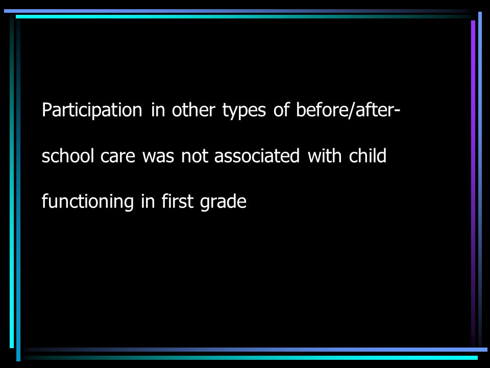 Participation in other types of before/after- school care was not associated with child functioning in first grade