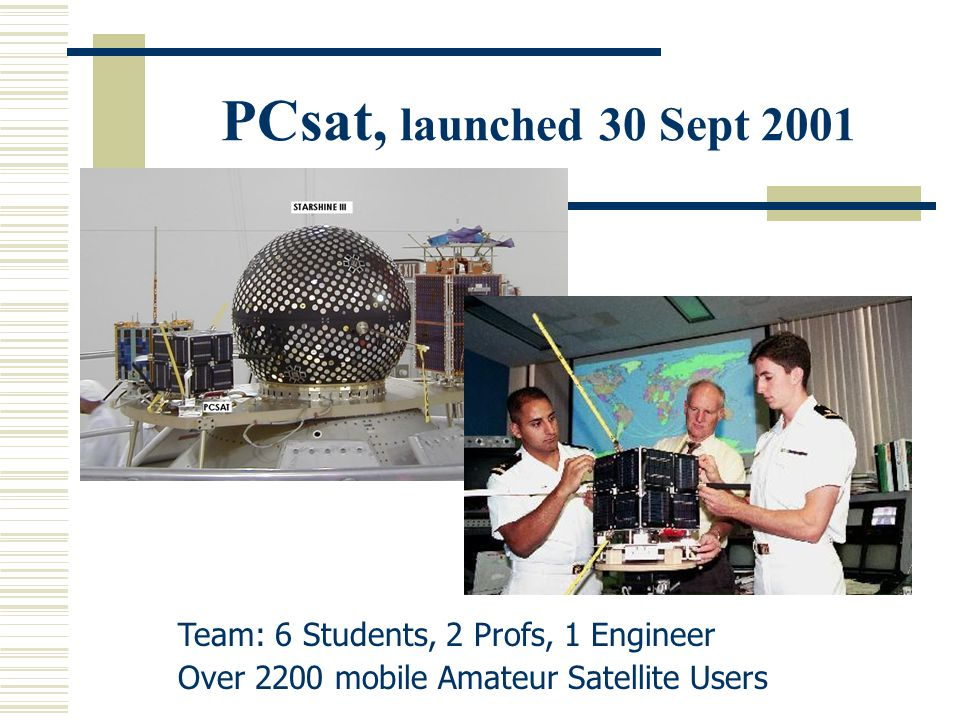 PCsat, launched 30 Sept 2001 Team: 6 Students, 2 Profs, 1 Engineer Over 2200 mobile Amateur Satellite Users