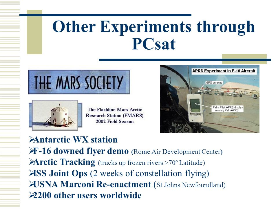 Other Experiments through PCsat  Antarctic WX station  F-16 downed flyer demo (Rome Air Development Center)  Arctic Tracking (trucks up frozen rivers >70º Latitude)  ISS Joint Ops (2 weeks of constellation flying)  USNA Marconi Re-enactment ( St Johns Newfoundland)  2200 other users worldwide