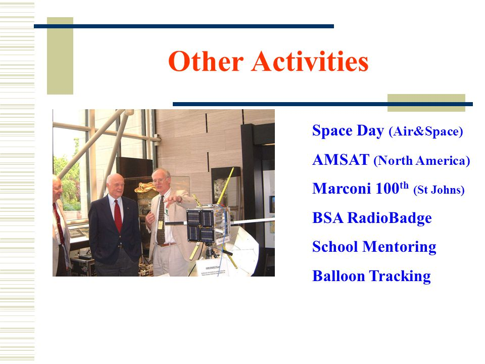 Other Activities Space Day (Air&Space) AMSAT (North America) Marconi 100 th (St Johns) BSA RadioBadge School Mentoring Balloon Tracking