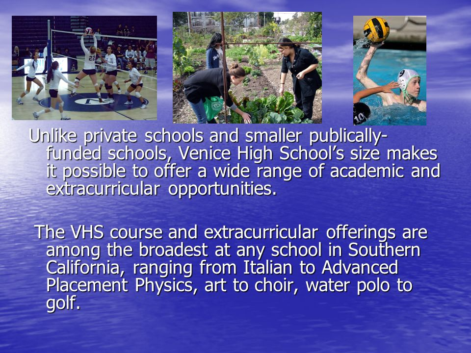 Unlike private schools and smaller publically- funded schools, Venice High School's size makes it possible to offer a wide range of academic and extracurricular opportunities.