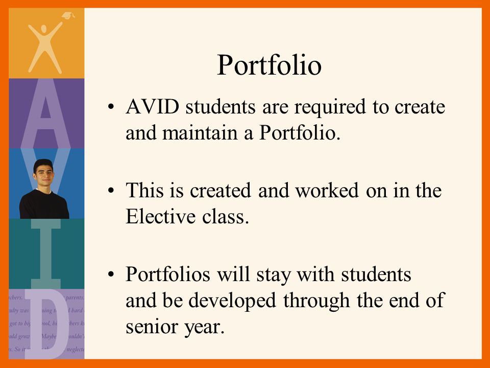 Portfolio AVID students are required to create and maintain a Portfolio.