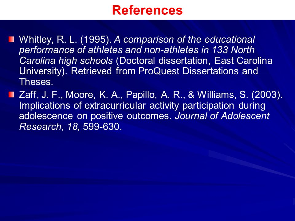 References Whitley, R. L. (1995). A comparison of the educational performance of athletes and non-athletes in 133 North Carolina high schools (Doctora